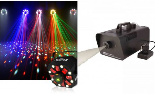 Disco lights and log machine for party celebrations
