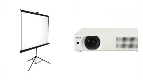 Pull Up Tripod Screen and Projector