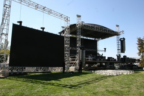 Front view of stage rigging work done by Nova Multimedia